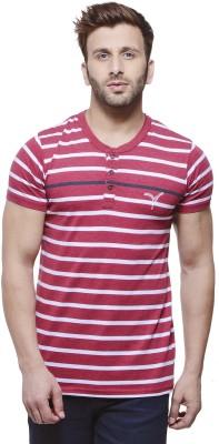 MONTEIL & MUNERO Striped Men's Henley Maroon T-Shirt
