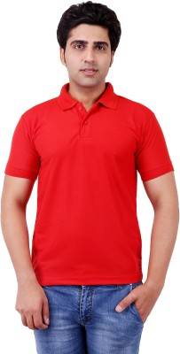 Be Grateful Solid Men's Polo Neck Red T-Shirt