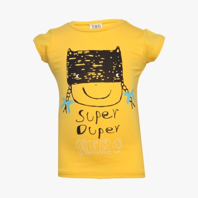 Tales & Stories Graphic Print Baby Girl's Round Neck Yellow T-Shirt