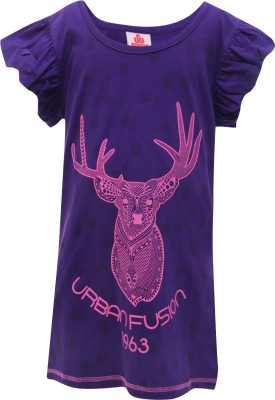 UFO Printed Girl's Round Neck Purple T-Shirt