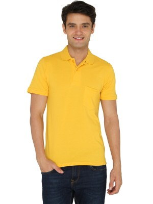 Chromozome Solid Men's Polo Neck Yellow T-Shirt
