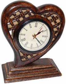 Fabulo 1 Compartments WOODEN Table Clock(Brown)