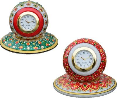 eCraftIndia Analog Red, Green, Golden Clock