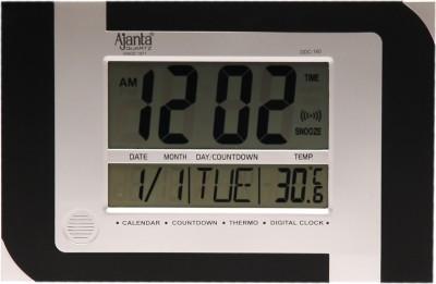 Ajanta Analog-Digital Black-Silver Clock