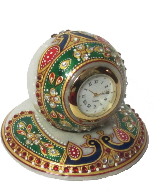 eCraftIndia Analog Multicolor Clock Colorful Stone Studded Marble Table with Peocock