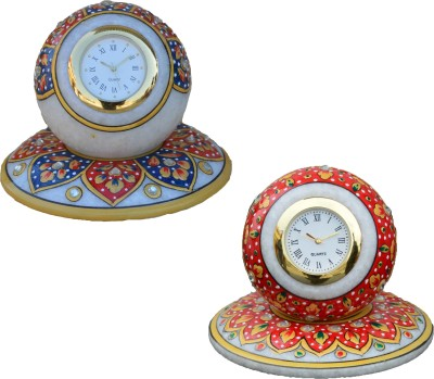 eCraftIndia Analog Red, Blue, Golden Clock