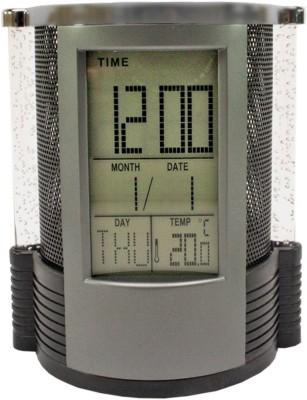 Aadishwar Creations 1 Compartments Plastic Digital Alarm Table Clock Pen Stand
