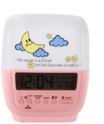 Horo Digital White, Pink Clock