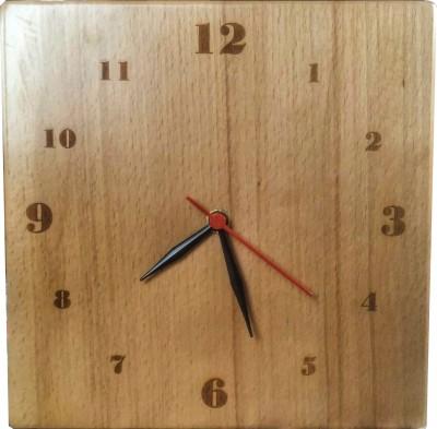 SLK Analog Laser Engraved Wooden (Brown) Clock