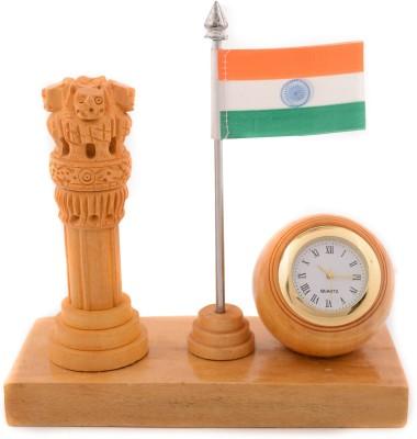 eCraftIndia Ashoka Pillar and National Flag Analog Clock (Brown, Orange, White, Green)