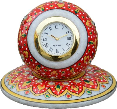eCraftIndia Analog Red, Golden Clock