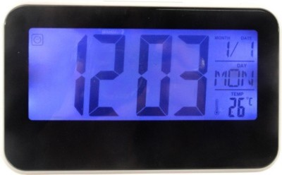 Wallace 2618-Black Table Clock with Tap Sensitive Backlight Digital Black Clock