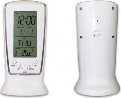 AutoSun Digital Alarm Table White Clock