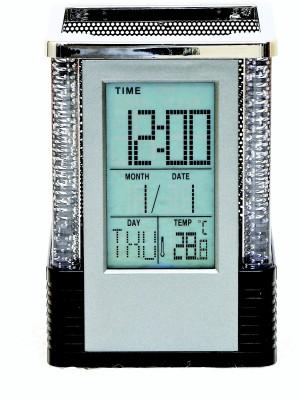 Wallace LCD Glowing Digital Indoor Temperature Meter Calendar Penholder Digital Black Clock