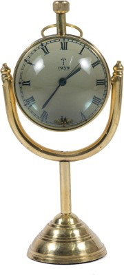 Brown Village Analog Golden Clock