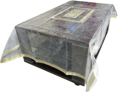 The Fancy Mart Printed 6 Seater Table Cover(Golden Border, PVC)
