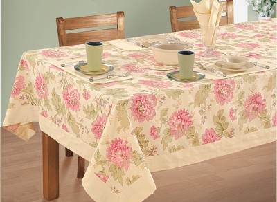 Swayam Printed 6 Seater Table Cover(Beige, Cotton)