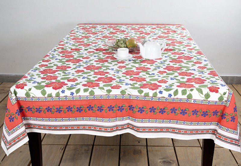 Ocean Collection Floral 6 Seater Table Cover RED OLD