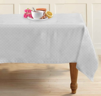 Airwill Self Design 4 Seater Table Cover(White, Cotton)