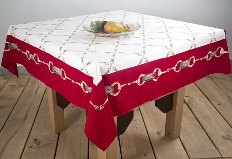 Ocean Collection Floral 4 Seater Table Cover TC-Horse-Chain-Red--A
