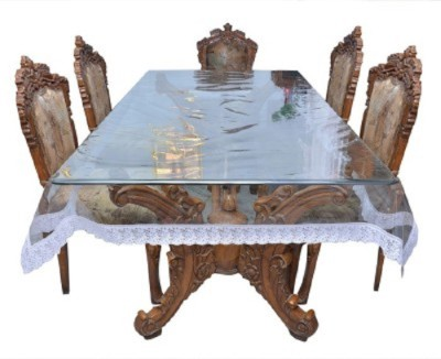 VEENA FABS Self Design 6 Seater Table Cover