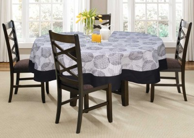 Lushomes Printed 4 Seater Table Cover(Black, Cotton)