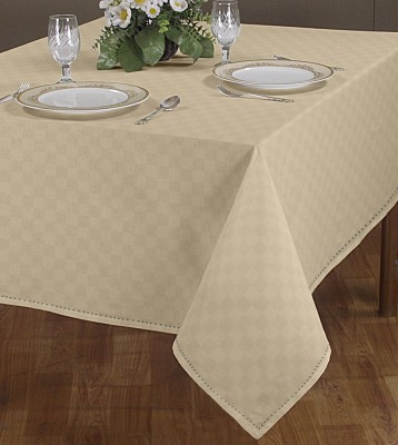 Airwill Self Design 4 Seater Table Cover(Beige, Cotton)