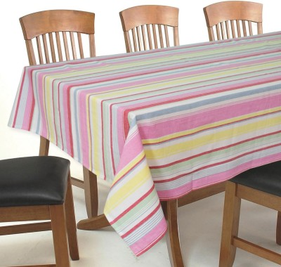Elan Striped 6 Seater Table Cover(Pink Multi, Cotton)