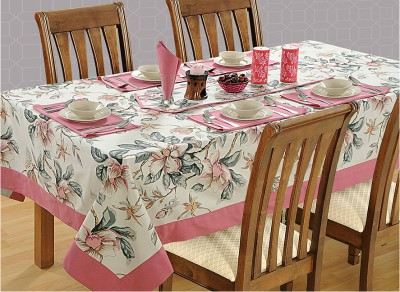 Swayam Floral 8 Seater Table Cover(Pink, Beige, Cotton)