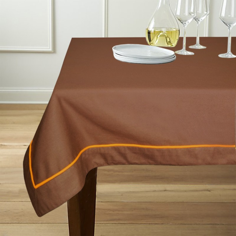 Lushomes Solid 6 Seater Table Cover(Brown, Cotton)