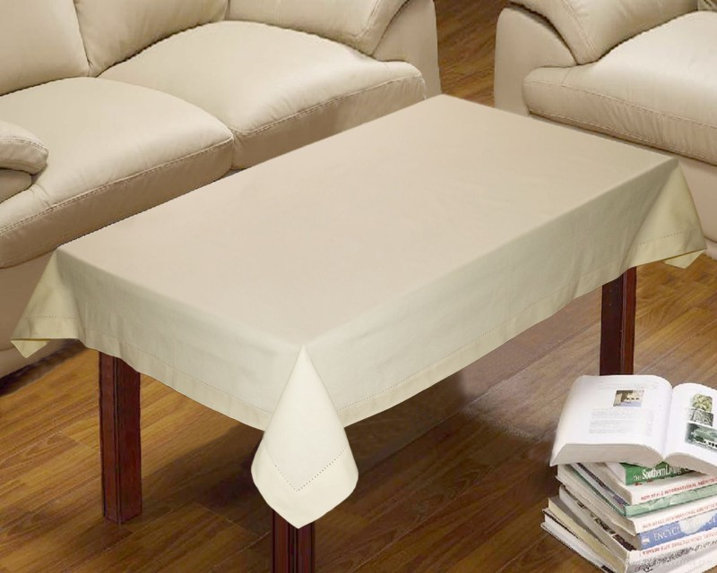 Lushomes Solid 4 Seater Table Cover(Beige, Cotton)
