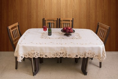 Azalea Floral 8 Seater Table Cover(White, Satin) at flipkart