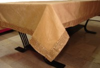 Home+ Solid 4 Seater Table Cover(Beige, Velvet)