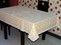Katwa Clasic Crocheted 4 Seater Table Cover(Gold, PVC)