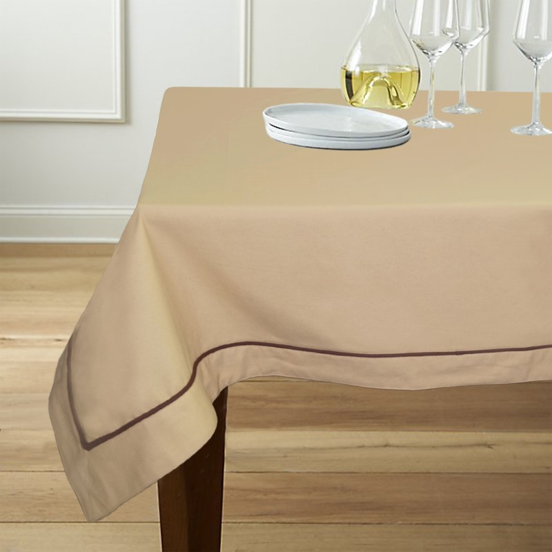 Lushomes Solid 6 Seater Table Cover(Beige, Cotton)