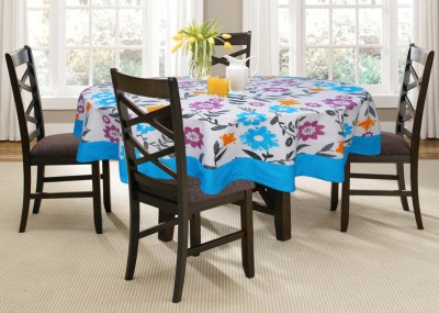 Lushomes Printed 4 Seater Table Cover(Blue, Cotton)