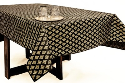 Cannigo Printed 6 Seater Table Cover(Black, PVC) at flipkart