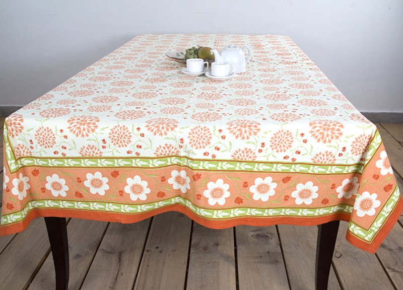 Ocean Collection Floral 8 Seater Table Cover TL-Kadamba-3528-E-mustred-1