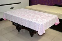Katwa Clasic Crocheted 2 Seater Table Cover(Pink, PVC)