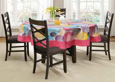 Lushomes Printed 6 Seater Table Cover(Multicolor, Cotton)
