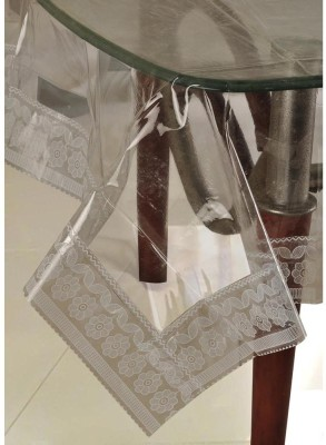 ExpressionHome Solid 6 Seater Table Cover(White, PVC)