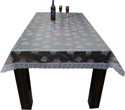 Prime Floral 4 Seater Table Cover(Transparent, PVC)