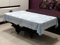 Katwa Clasic Floral 2 Seater Table Cover(Blue, PVC)