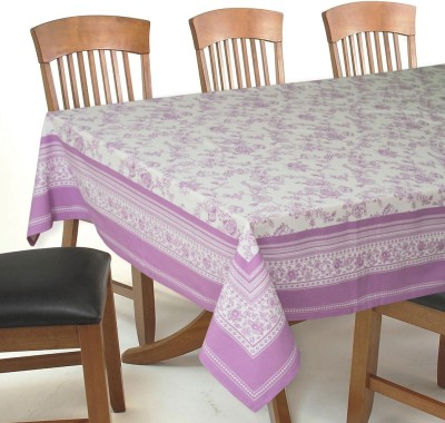Elan Printed 4 Seater Table Cover(Puple, Cotton)