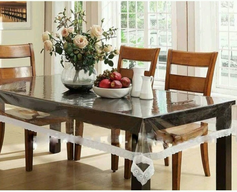 PS DECOR Floral 6 Seater Table Cover(Transparent, PVC)