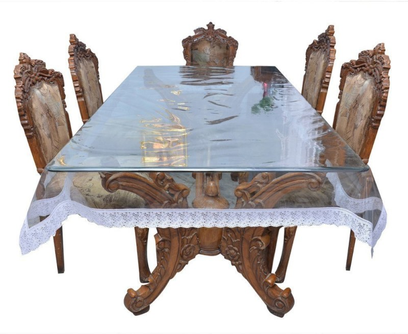 Rajri Decor Solid 6 Seater Table Cover(Transparent, Vinyl)
