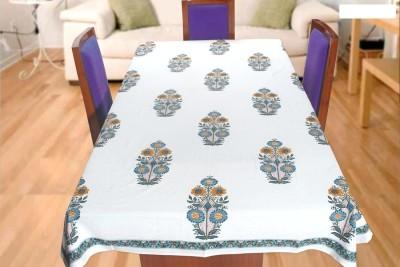 Coco Bee Fleur-de-lis 6 Seater Table Cover(White, Cotton)
