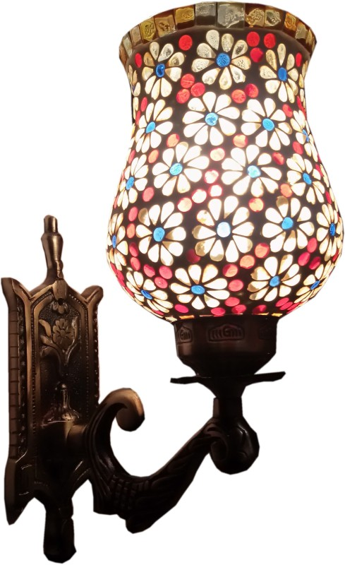 Weldecor Antiua Brasso Floral Stars Night Lamp(30 cm, Multocolor)