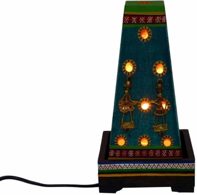 Indikala A Shaped Ethnic Lamp With Dhokra and Warli Work and Perforated Side Panels ( 10 Inch Tall ) Table Lamp