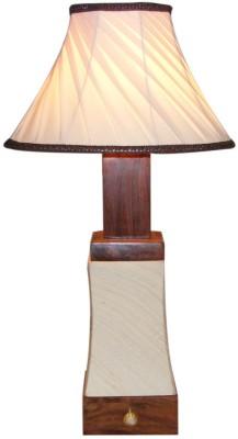 Diya Designs Rajwada Style With Dimmer Wood & Linen Shade Table Lamp